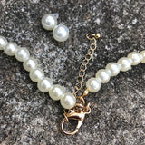 Formal Imitation Pearl & Rhinestone Necklace & Earring Set