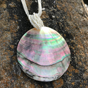 Natural Abalone Pendant Ribbon Choker Necklace