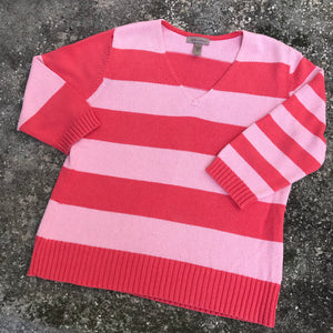 I.E. RELAXED Women's Coral & Punk Stripe Cotton Blend Sweater Shirt Top, Size L