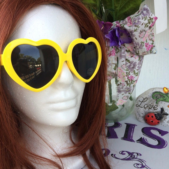 Vintage Style Retro Yellow Heart Shaped Sunglasses
