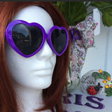Vintage Style Retro Purple Heart Shaped Sunglasses