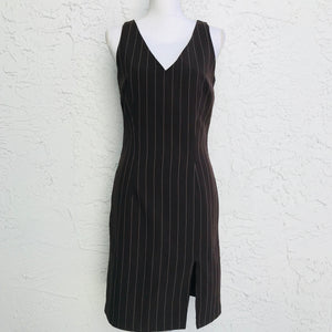 Women's Brown Stripe Fitted Sheath Dress, Size 6