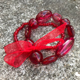 Artisan Crafted Fiery Red Women's Bead Stretch Bracelet