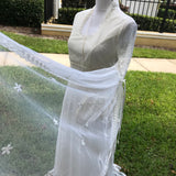 CREATION BY JAN 3 Piece Vintage Ivory Lace Wedding Dress Gown, Size Small