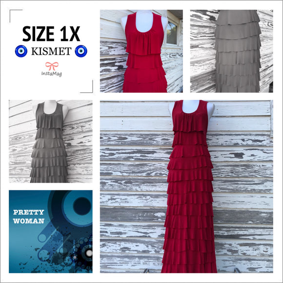 PRETTY WOMAN Women's Plus Size 1X Red Long Ruffled Stretch Maxi Sleeveless Dress