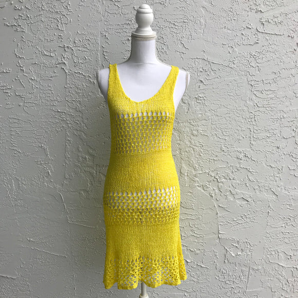 Paradise Yellow Knit Beach Dress Coverup, One Size
