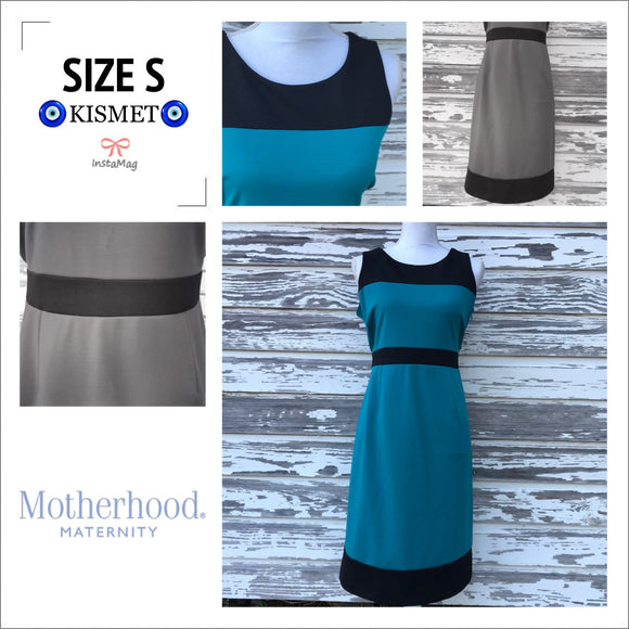 MOTHERHOOD MATERNITY Women's Size Small Teal & Black Empire Waist Dress