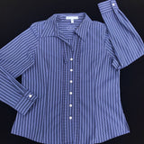 FOXCROFT Women's Size 8 Petites Fitted Wrinkle Free Striped Button Down Career Blouse