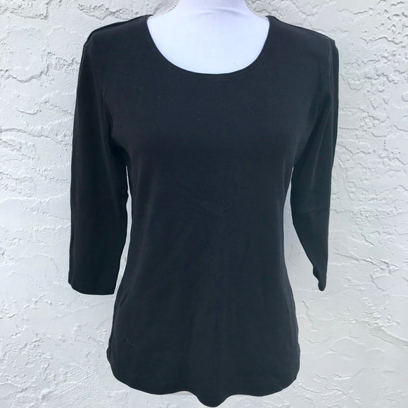 Karen Scott Black Cotton Sweatshirt, Size S