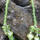 Two-Layer Green Beaded Statement Necklace