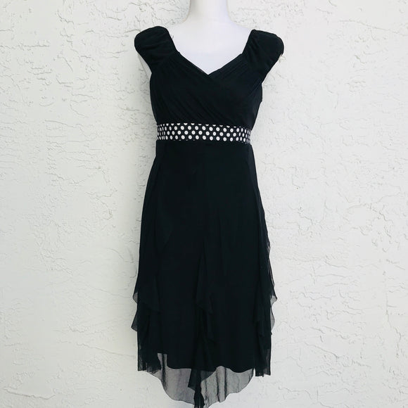 Disorderly Kids Black Asymmetrical Layered Mesh Dress, Size 1X/XL 16