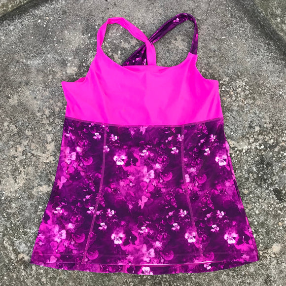 MONDETTA Women's Plus Size Hot Pink Fuchsia Floral Athletic Active Top, Size 1X XL