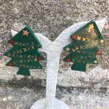 Vintage Christmas Tree Holiday Handcrafted Stud Earrings
