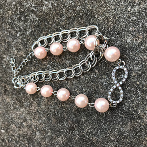 Light Pink Pearl Infinity Chain Bracelet