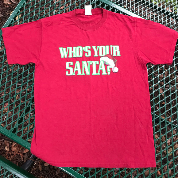 JERZEES Who's Your Santa? Holiday Christmas Novelty T-Shirt, Size M