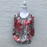 New Directions Floral Satin Blouse, Size S