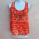 Jolt Studded Orange Floral Tank Top, Size Small