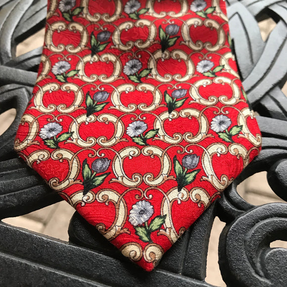 "Marco Polo Italian Style Men's 3.75"" Silk Floral Print Tie"