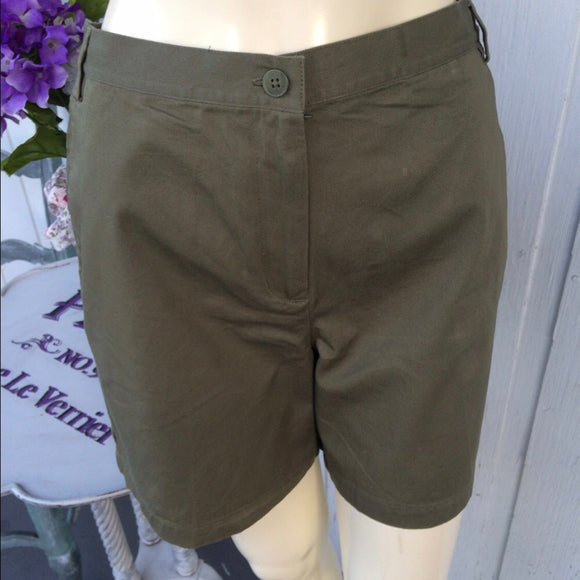Petite Sophisticates Olive Green High Waist Shorts, Size 8