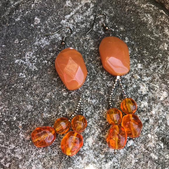 "Artisan Handcrafted 3"" Orange Beaded Drop Earrings"