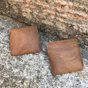 "Vintage 1980's Geometric Square Wooden 1.5"" Stud Earrings"