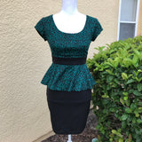 IZ BYER Women's Green & Black Leopard Print Peplum Midi Dress, Size 1