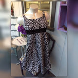 Stein Mart Isadora Collection Black & White Print Dress, Size Large 14