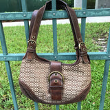 COACH Handbag Brown Leather Signature Jacquard  Hobo Purse No DO4J-7074N