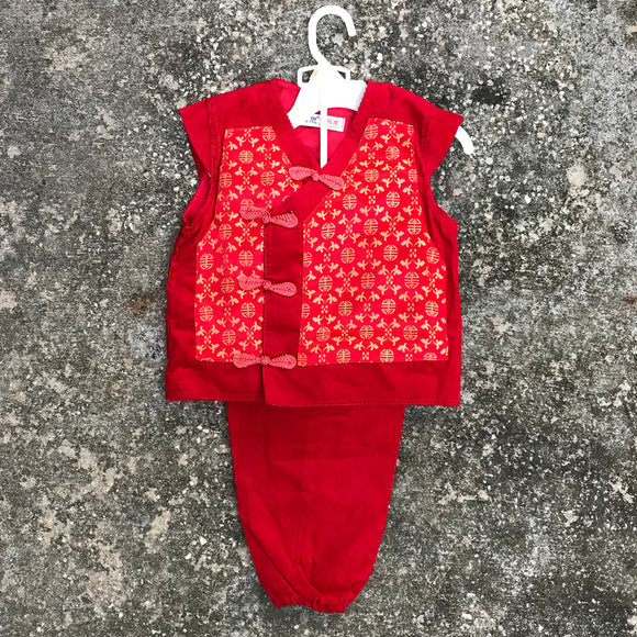 CHINA WEAR Baby Red Corduroy & Satin Ethnic Pant Suit Outfit, Size 2T NEW OOAK