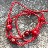 "Artisan Crafted Fiery Red Bead 24"" Matinee Necklace"