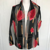 "Women's Satin Silk Feel Leaf Print Scarf, Size 13.5"" x 59"""