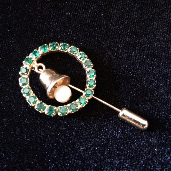 Christmas Holiday Green Rhinestone Wreath Bell Needle Lapel Stick Tie Scarf Pin