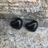 Vintage 1980's Black Heart Shaped Resin Stud Earrings