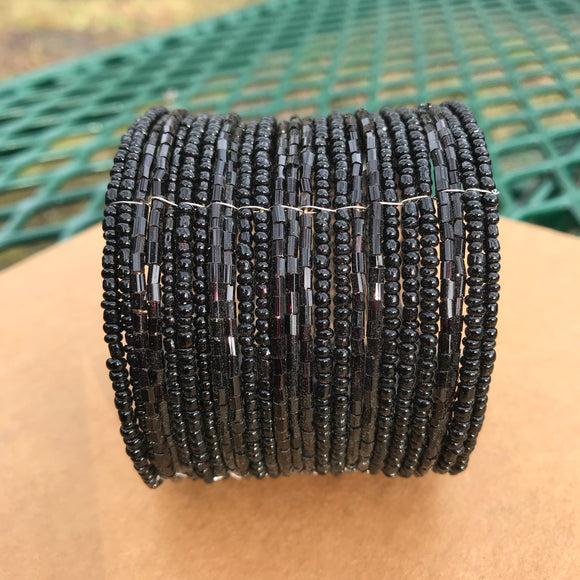 Artisan Crafted Boho Chick Black Hand Beaded Cuff Bracelet