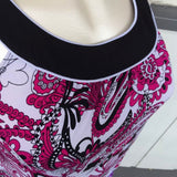 AGB Women's Sleeveless Plus Size Paisley's Print Blouse, Size XL