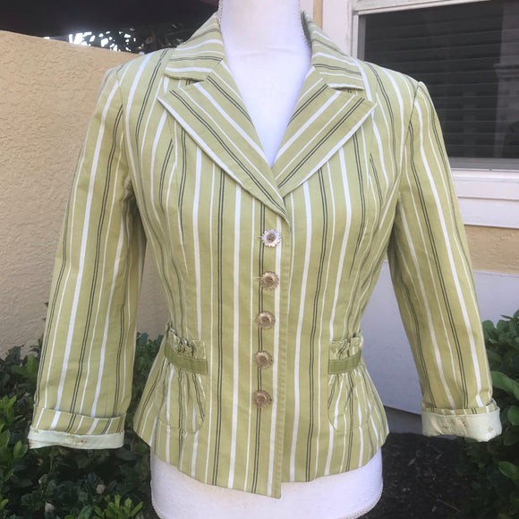 INTUITIONS Women's Cotton Blend Green Striped Blazer Jacket Size 8