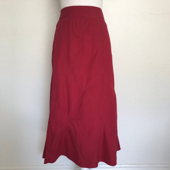 CATO Women's Plus Size 24W 100% Cotton Red Midi Flare Skirt BRAND NEW