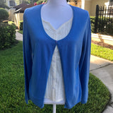SAG HARBOR PETITE Women's Blue & Cream Double Layer Knit Blouse, Size PM