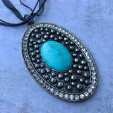 Turquoise Ribbon Pendant Necklace