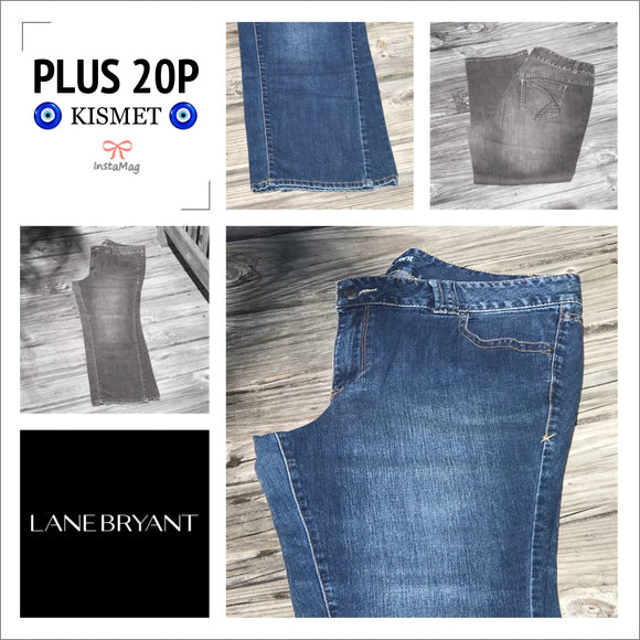LANE BRYANT Women's Plus Size Petites 20P Dark Wash Straight Leg Jeans
