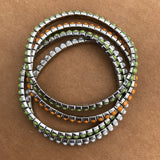 4 String Rhinestone Multi Row Flex Bracelet Set