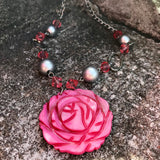 Pink Carved Rose Pendant Matinee New & Earrings Set