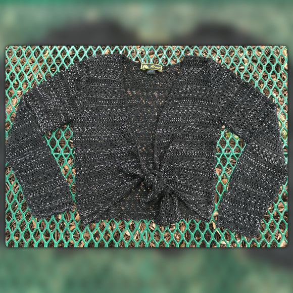 MIRASOL Women's Knitted Black & Tinsel Bolero Shrug, Size S