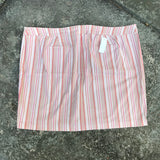 LANE BRYANT Women's Plus Size 28 Embroidered Pink Striped Mini Skirt
