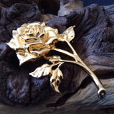 Vintage Costume Jewelry Gold Tone Rose Brooch Pin