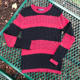 KATEN SCOTT Women's 100% Cotton Black & Red Rope Sweater, Size M