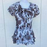 Sunny Leigh Pleated Ruffled Blouse, Size Medium