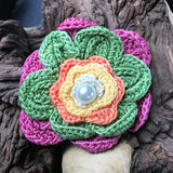 "Artisan Crafted Crocheted 4"" Floral Brooch or Hat Pin"