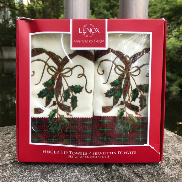LENOX 100% Cotton Set of 2 Holiday Fingertip Towels