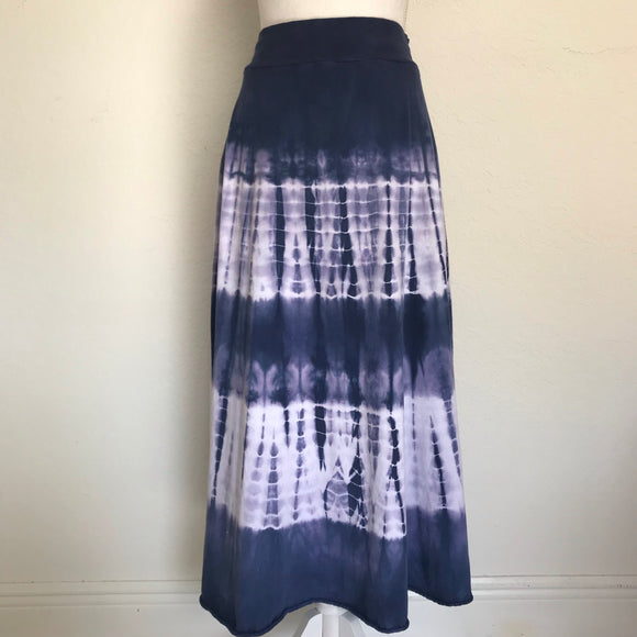 TRYST Women's Cotton Tye Die Navy Maxi Skirt Size Large